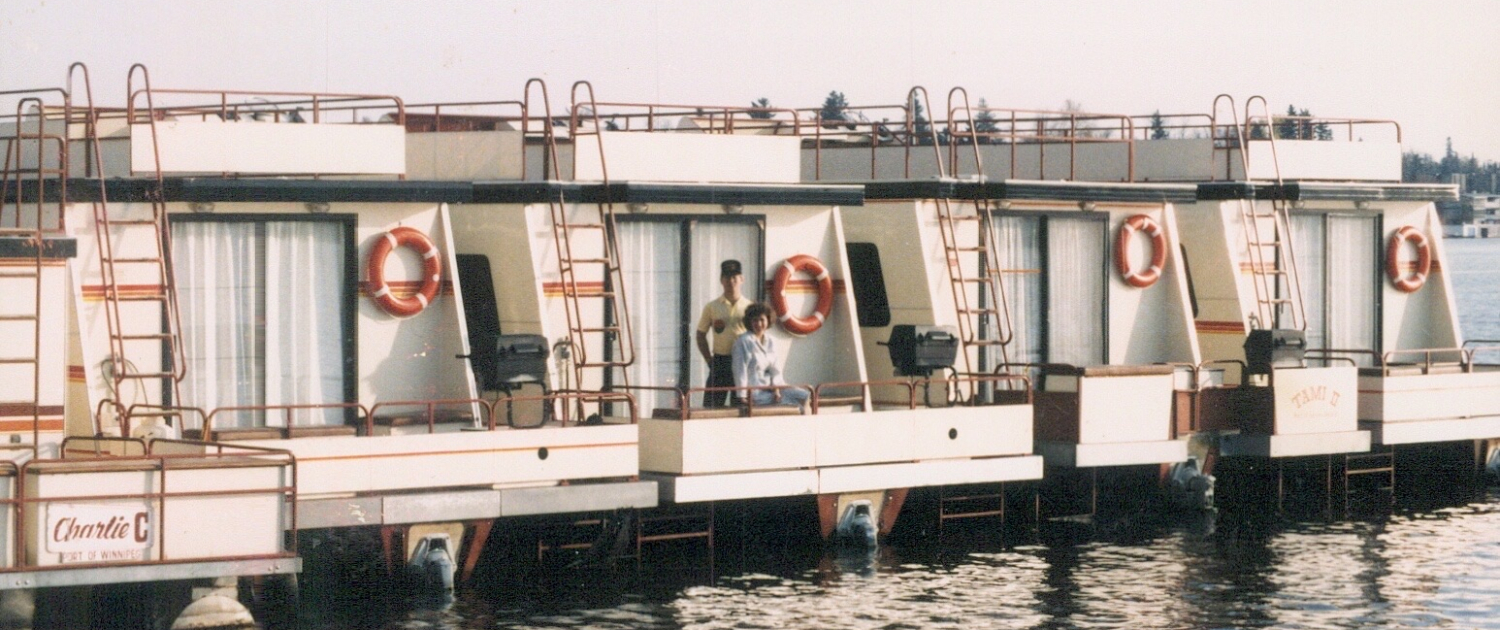 Jeff and Lorelie on the rear deck of Houseboat Adventures houseboats 1986