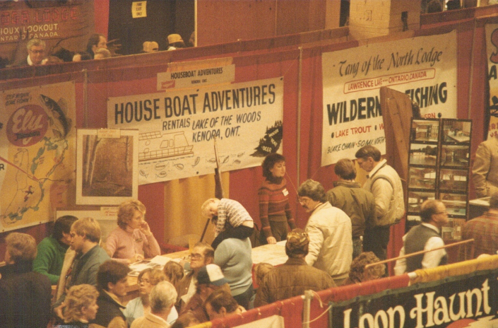 Houseboat Adventures on Lake of the Woods at a sport show in St Paul Minnesota 1984.