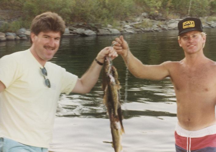 Jeff and friend Pat M fishing walleye Lake of the Woods 1984